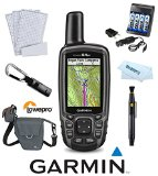 Garmin GPSMAP 64st TOPO U.S. 100K (Gray) Hiking and Backcountry Bundle w/ 4 AA Rechargable Batteries + Charger, Lowepro Case, Cleaning System, Microfiber Cloth, Screen Protection, Handheld GPS GLONASS Receiver TOPO U.S. 100K Bluetooth Wireless 010-01199-20