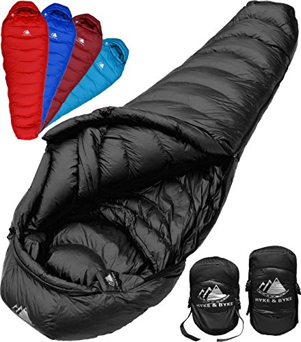 2b88ca4d16f852 Hyke & Byke Down Sleeping Bag for Backpacking – Quandary 15 Degree F  Ultralight, Ultra Compact Down Filled 3 Season Men's and Women's  Lightweight Mummy Bags ...